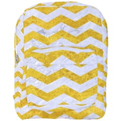 Chevron3 White Marble & Yellow Marble Full Print Backpack