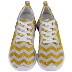 Chevron3 White Marble & Yellow Marble Men s Lightweight Sports Shoes