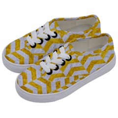 Chevron2 White Marble & Yellow Marble Kids  Classic Low Top Sneakers by trendistuff