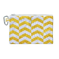 Chevron2 White Marble & Yellow Marble Canvas Cosmetic Bag (large) by trendistuff