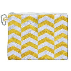 Chevron2 White Marble & Yellow Marble Canvas Cosmetic Bag (xxl) by trendistuff