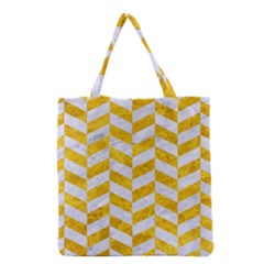 Chevron1 White Marble & Yellow Marble Grocery Tote Bag by trendistuff