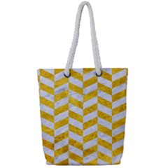 Chevron1 White Marble & Yellow Marble Full Print Rope Handle Tote (small)