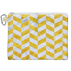 Chevron1 White Marble & Yellow Marble Canvas Cosmetic Bag (xxl) by trendistuff