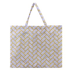 Brick2 White Marble & Yellow Marble (r) Zipper Large Tote Bag by trendistuff