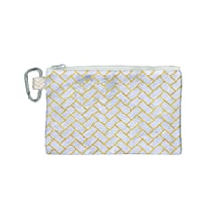Brick2 White Marble & Yellow Marble (r) Canvas Cosmetic Bag (small) by trendistuff