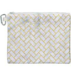 Brick2 White Marble & Yellow Marble (r) Canvas Cosmetic Bag (xxxl) by trendistuff