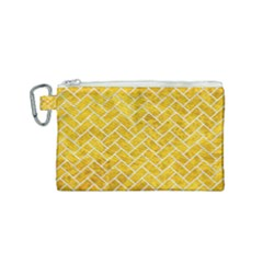Brick2 White Marble & Yellow Marble Canvas Cosmetic Bag (small) by trendistuff