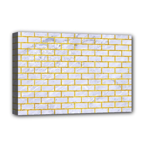 Brick1 White Marble & Yellow Marble (r) Deluxe Canvas 18  X 12   by trendistuff