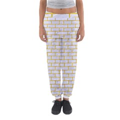 Brick1 White Marble & Yellow Marble (r) Women s Jogger Sweatpants by trendistuff