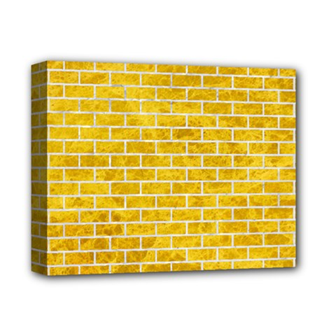 Brick1 White Marble & Yellow Marble Deluxe Canvas 14  X 11  by trendistuff
