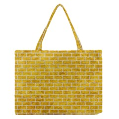 Brick1 White Marble & Yellow Marble Zipper Medium Tote Bag by trendistuff