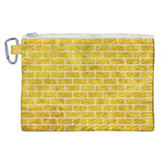 Brick1 White Marble & Yellow Marble Canvas Cosmetic Bag (xl) by trendistuff