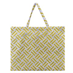 Woven2 White Marble & Yellow Leather (r) Zipper Large Tote Bag by trendistuff