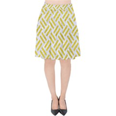 Woven2 White Marble & Yellow Leather (r) Velvet High Waist Skirt by trendistuff