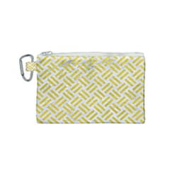 Woven2 White Marble & Yellow Leather (r) Canvas Cosmetic Bag (small) by trendistuff