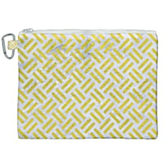 Woven2 White Marble & Yellow Leather (r) Canvas Cosmetic Bag (xxl) by trendistuff