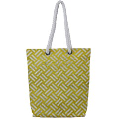 Woven2 White Marble & Yellow Leather Full Print Rope Handle Tote (small) by trendistuff