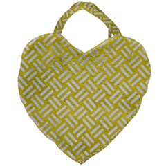 Woven2 White Marble & Yellow Leather Giant Heart Shaped Tote by trendistuff