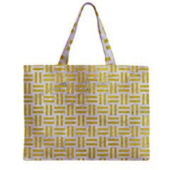 Woven1 White Marble & Yellow Leather (r) Zipper Mini Tote Bag by trendistuff