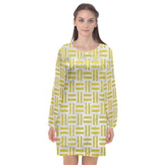 Woven1 White Marble & Yellow Leather (r) Long Sleeve Chiffon Shift Dress  by trendistuff