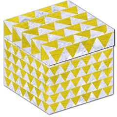 Triangle2 White Marble & Yellow Leather Storage Stool 12   by trendistuff