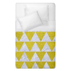 Triangle2 White Marble & Yellow Leather Duvet Cover (single Size) by trendistuff