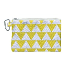 Triangle2 White Marble & Yellow Leather Canvas Cosmetic Bag (medium) by trendistuff