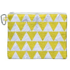 Triangle2 White Marble & Yellow Leather Canvas Cosmetic Bag (xxl)