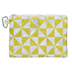 Triangle1 White Marble & Yellow Leather Canvas Cosmetic Bag (xl)