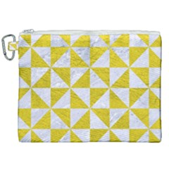 Triangle1 White Marble & Yellow Leather Canvas Cosmetic Bag (xxl) by trendistuff