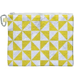 Triangle1 White Marble & Yellow Leather Canvas Cosmetic Bag (xxxl) by trendistuff