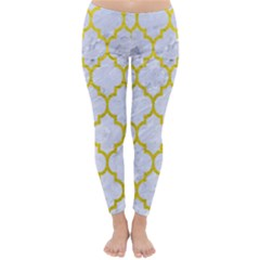 Tile1 White Marble & Yellow Leather (r) Classic Winter Leggings