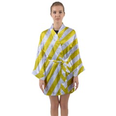 Stripes3 White Marble & Yellow Leather (r)stripes3 White Marble & Yellow Leather (r) Long Sleeve Kimono Robe by trendistuff