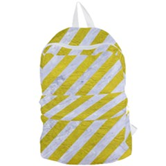 Stripes3 White Marble & Yellow Leather (r)stripes3 White Marble & Yellow Leather (r) Foldable Lightweight Backpack