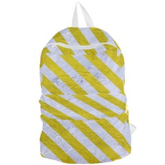 Stripes3 White Marble & Yellow Leather Foldable Lightweight Backpack