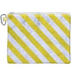 Stripes3 White Marble & Yellow Leather Canvas Cosmetic Bag (xxxl) by trendistuff