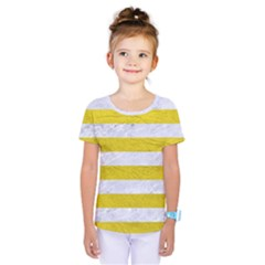 Stripes2white Marble & Yellow Leather Kids  One Piece Tee by trendistuff