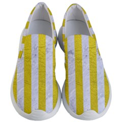 Stripes1 White Marble & Yellow Leather Women s Lightweight Slip Ons