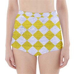 Square2 White Marble & Yellow Leather High Waisted Bikini Bottoms