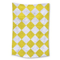 Square2 White Marble & Yellow Leather Large Tapestry by trendistuff