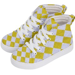 Square2 White Marble & Yellow Leather Kid s Hi Top Skate Sneakers by trendistuff