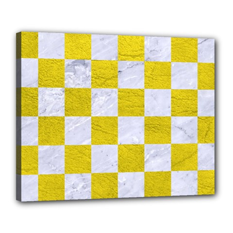 Square1 White Marble & Yellow Leather Canvas 20  X 16  by trendistuff