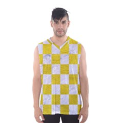 Square1 White Marble & Yellow Leather Men s Basketball Tank Top by trendistuff
