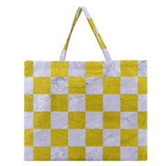 Square1 White Marble & Yellow Leather Zipper Large Tote Bag by trendistuff