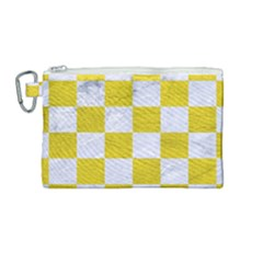 Square1 White Marble & Yellow Leather Canvas Cosmetic Bag (medium) by trendistuff