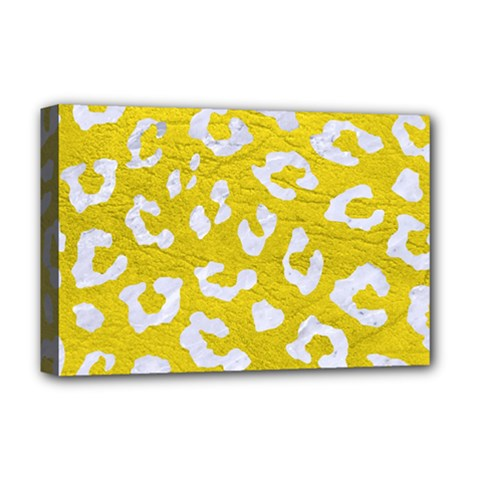 Skin5 White Marble & Yellow Leather (r) Deluxe Canvas 18  X 12   by trendistuff