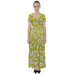 Skin5 White Marble & Yellow Leather (r) High Waist Short Sleeve Maxi Dress