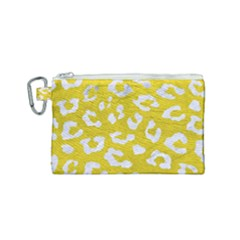 Skin5 White Marble & Yellow Leather (r) Canvas Cosmetic Bag (small) by trendistuff