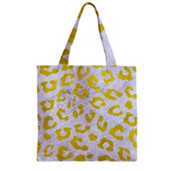 Skin5 White Marble & Yellow Leather Zipper Grocery Tote Bag by trendistuff